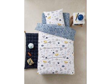 Parure housse de couette + taie d'oreiller enfant COSMOS Oeko-Tex® bleu / multicolore