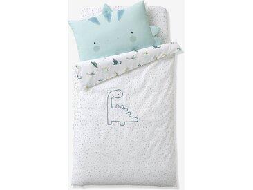 Housse de couette bébé réversible PETIT DINO Oeko-Tex® blanc / bleu