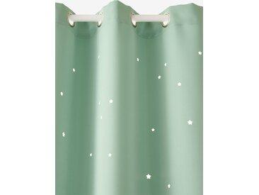 Rideau à œillets occultant et motifs perforés vert / étoiles