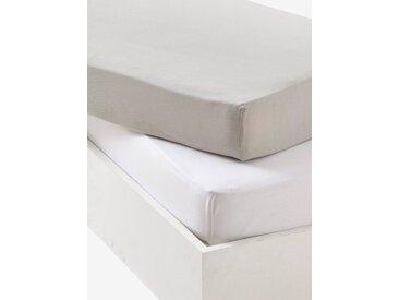 Lot de 2 draps-housses bébé en jersey extensible Oeko-Tex® gris + blanc