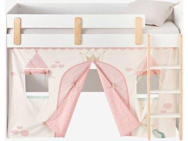 Tente de lit Princesse féérique pour lit mezzanine mi hauteur ligne Everest rose