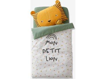 Housse de couette bébé MON PETIT LION Oeko-Tex® ivoire imprimé / vert