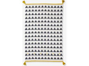 Tapis à pompons et triangles Atlas noir et blanc