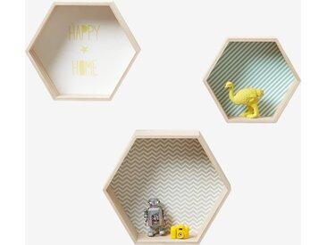 Lot de 3 étagères hexagones enfant bois/multicolore