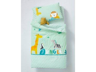 Housse de couette bébé JUNGLE PARTY Oeko-Tex® vert clair imprimé