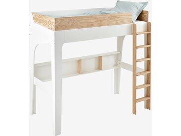 Lit mezzanine avec étagères pour combiné EASYSPACE blanc/bois