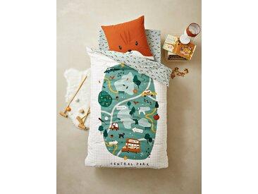 Parure housse de couette + taie d'oreiller enfant CENTRAL PARK Oeko-Tex® vert / multicolore