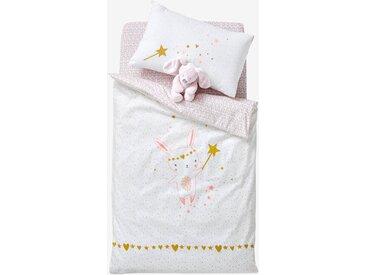 Housse de couette bébé FEERIE Oeko-Tex® écru / rose