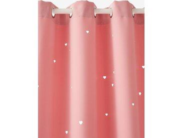 Rideau à œillets occultant et motifs perforés rose / coeurs