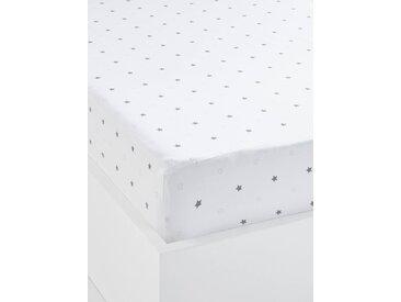 Drap-housse bébé PLUIE D'ETOILES Oeko-Tex® blanc  /  étoiles
