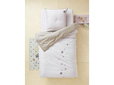 Parure réversible housse de couette + taie d'oreiller enfant PLUIE D'ETOILES Oeko-Tex® blanc imprimé