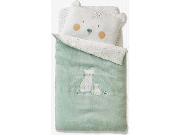 Housse de couette bébé en gaze de coton MY LITTLE BEAR Oeko-Tex® écru/vert