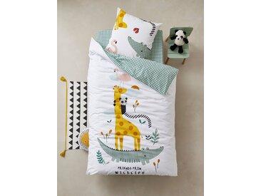 Parure housse de couette + taie d'oreiller enfant HAPPY'RAMIDE Oeko-Tex® blanc / multicolore