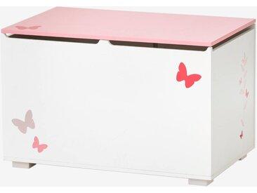 Coffre à jouets LIGNE ENVOLEE blanc/rose