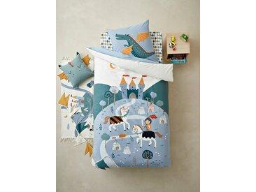 Parure housse de couette + taie d'oreiller enfant CHEVALIER avec sequins réversibles Oeko-Tex® bleu