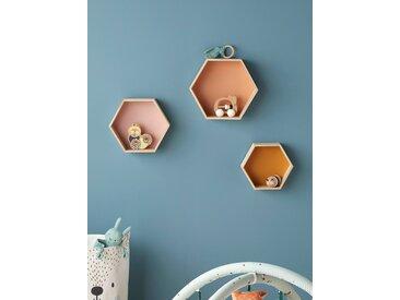 Lot de 3 étagères hexagones enfant orange