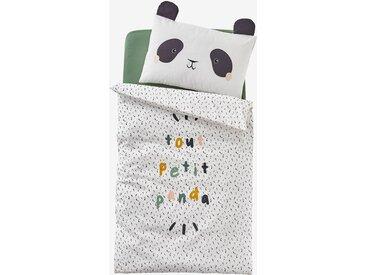 Housse de couette bébé Panda HANOÏ Oeko-Tex® écru / multicolore