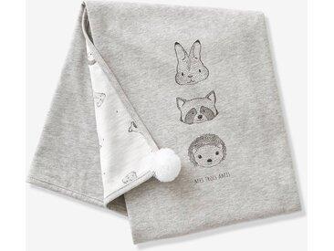 Couverture bébé en coton bio* MINI COMPAGNIE écru / gris chiné