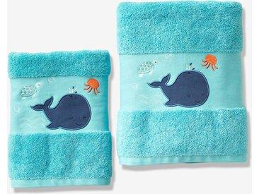 Serviette de bain Baleine Oeko-Tex® turquoise