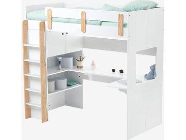 Lit mezzanine combiné LIGNE EVEREST blanc/bois