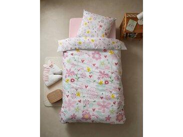 Parure housse de couette + taie d'oreiller enfant polyester et coton FLOR'AILES Oeko-Tex® blanc imprimé