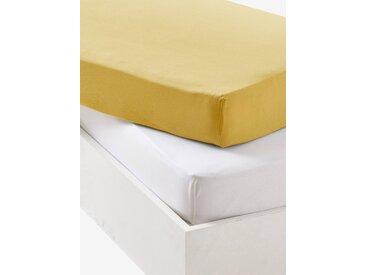Lot de 2 draps-housses bébé en jersey extensible Oeko-Tex® jaune curry