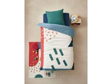 Parure housse de couette + taie d'oreiller enfant ARTY Oeko-Tex® bleu / multicolore