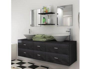 Meuble de salle de bain 9 pcs avec lavabo et robinet Noir - vidaXL