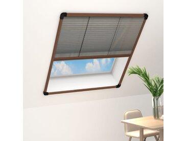 Moustiquaire plissée pour fenêtre Aluminium Marron 110x160 cm - vidaXL