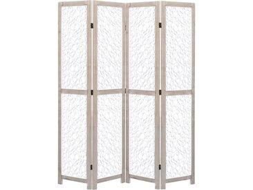 Cloison de séparation 4 panneaux Blanc 140x165 cm Bois solide - vidaXL