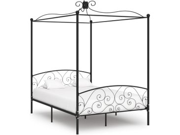Cadre de lit à baldaquin Noir Métal 140 x 200 cm - vidaXL