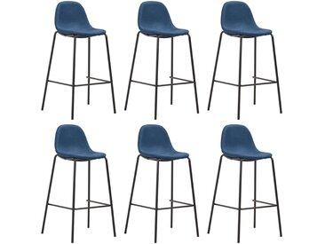 Chaises de bar 6 pcs Bleu Tissu - vidaXL