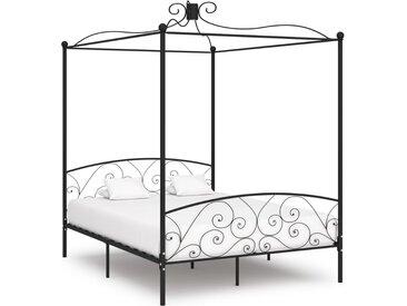 Cadre de lit à baldaquin Noir Métal 160 x 200 cm - vidaXL