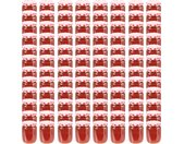 Pots à confiture Couvercle blanc et rouge 96 pcs Verre 230 ml - vidaXL