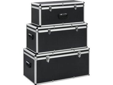 Boîtes de rangement 3 pcs Noir Aluminium - vidaXL