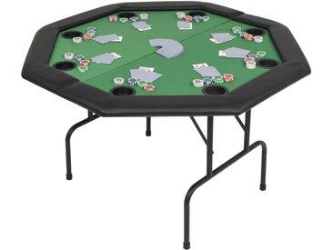 Table de poker pliable pour 8 joueurs 2 plis Octogonale Vert - vidaXL