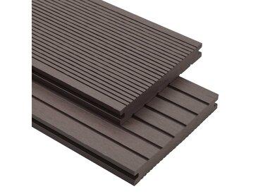 Panneaux de terrasse solides WPC 10 m² 4 m Marron foncé - vidaXL