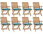 Chaises pliables de jardin avec coussins 8 pcs Teck solide - vidaXL