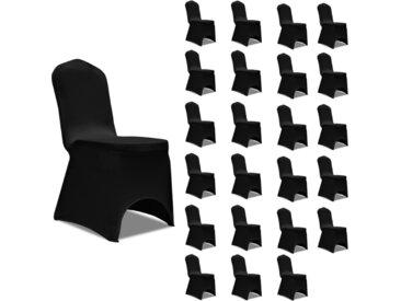 Housses élastiques de chaise Noir 24 pcs - vidaXL