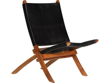 Chaise de relaxation pliable Noir Cuir véritable  - vidaXL