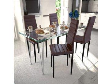 Lot de 4 chaises marron aux lignes fines avec une table en verre - vidaXL