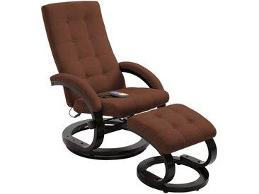 Fauteuil de massage avec repose-pieds Marron Tissu en daim - vidaXL