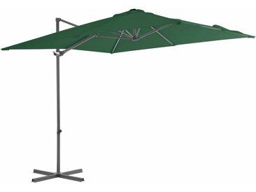 Parasol en porte-à-faux avec mât en acier 250 x 250 cm Vert - vidaXL