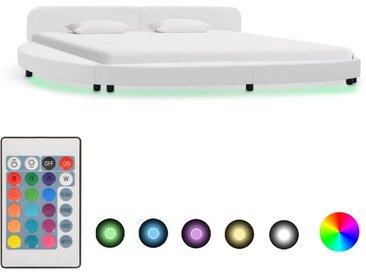 Cadre de lit avec LED Blanc Similicuir 180 x 200 cm - vidaXL