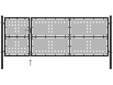 Portillon Acier 350 x 125 cm Noir - vidaXL