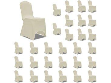 Housses élastiques de chaise Crème 30 pcs - vidaXL