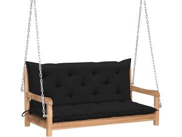 Balancelle avec coussin noir 120 cm Bois de teck solide - vidaXL