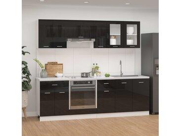 Ensemble de meubles de cuisine 8 pcs Noir brillant Aggloméré - vidaXL