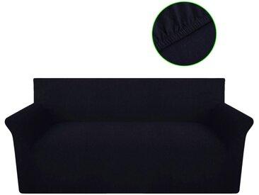 Housse de canapé en jersey de coton Noir  - vidaXL