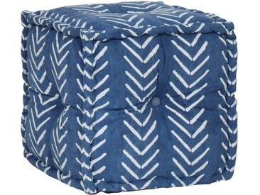 Pouf Cube en coton avec motif fait à la main 40 x 40 cm Indigo - vidaXL